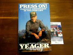 Chuck Yeager Speed Of Sound Ace Pilot Signed Auto Press On 1988 Book Jsa Beauty