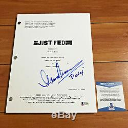 DAMON HERRIMAN SIGNED JUSTIFIED FULL PAGE PILOT EPISODE SCRIPT with BECKET BAS COA