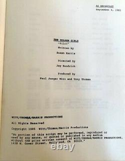 Golden Girls TV Show Pilot Script And Photo Signed By Cast