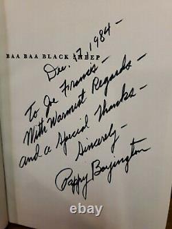 SIGNED Baa Baa Black Sheep 1958 Gregory Pappy Boyington WWII Pilot HC/DJ Book