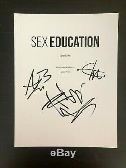 Sex Educaton Cast Signed Autograph Pilot Script Emma Mackey, Asa Butterfield +