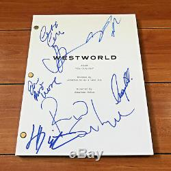WESTWORLD SIGNED PILOT SCRIPT COVER PAGE & TRANSCRIPT BY 7 CAST with PROOF & COA